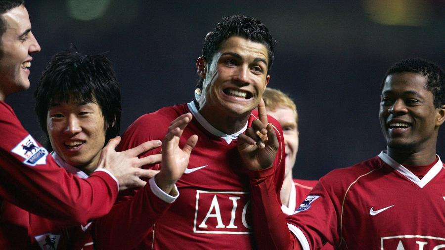 Cristiano Ronaldo, pelo Manchester United, na temporada 2006/2007 - AFP Photo/Paul Ellis