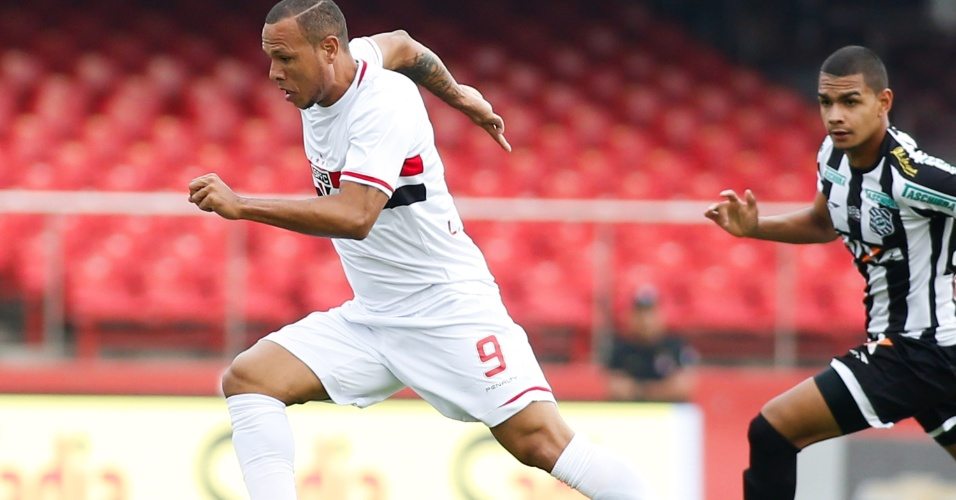 Luís Fabiano conduz a bola para escapar da marcação do Figueirense
