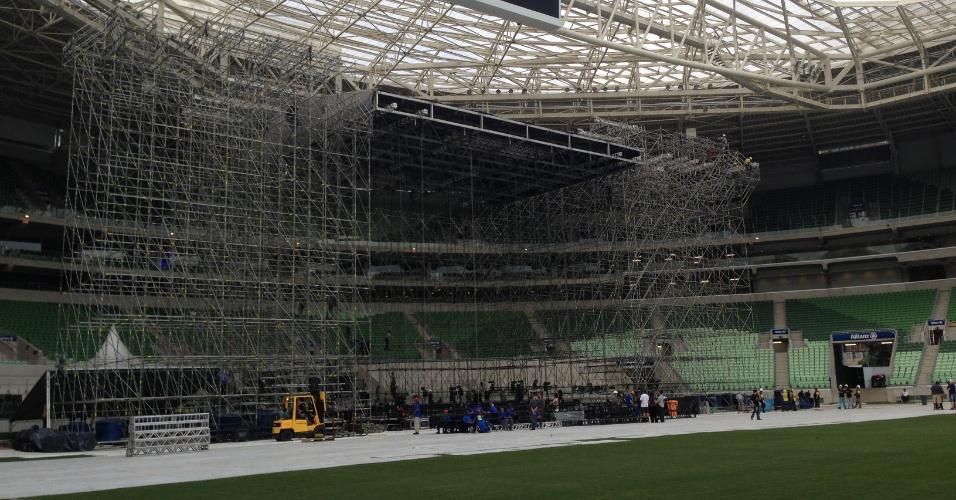 Estrutura de palco do show de Paul McCartney já montada no Allianz Parque