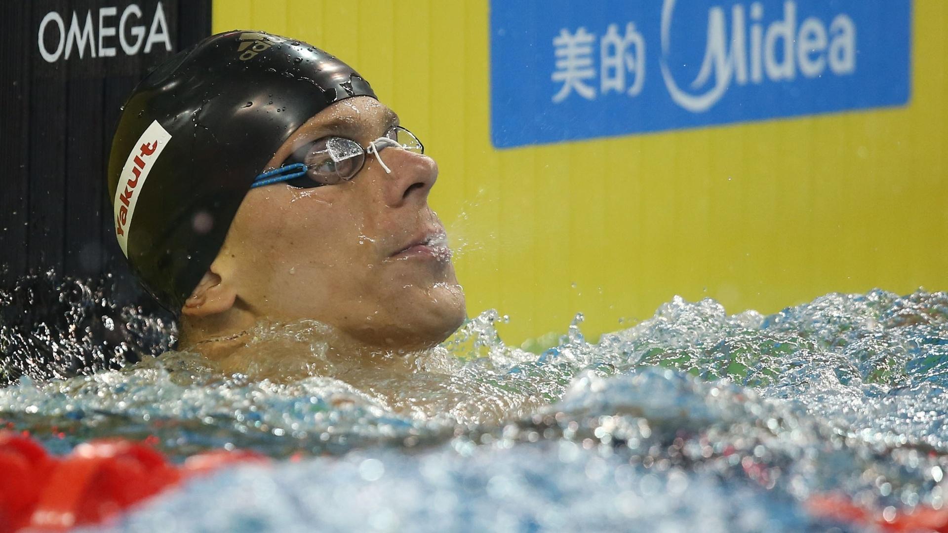 06. dez. 2014 - César Cielo após nadar a semifinal dos 100m livres em Doha