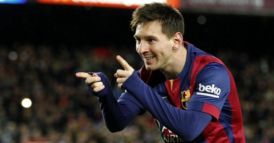 Messi comemora o segundo delena virada do Barcelona sobre o Espanyol no Camp Nou