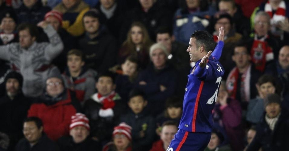 Van Persie festeja o primeiro gol do M. United sobre o Southampton