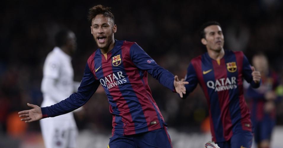 Neymar comemora após marcar um golaço pelo Barcelona na Liga dos Campeões
