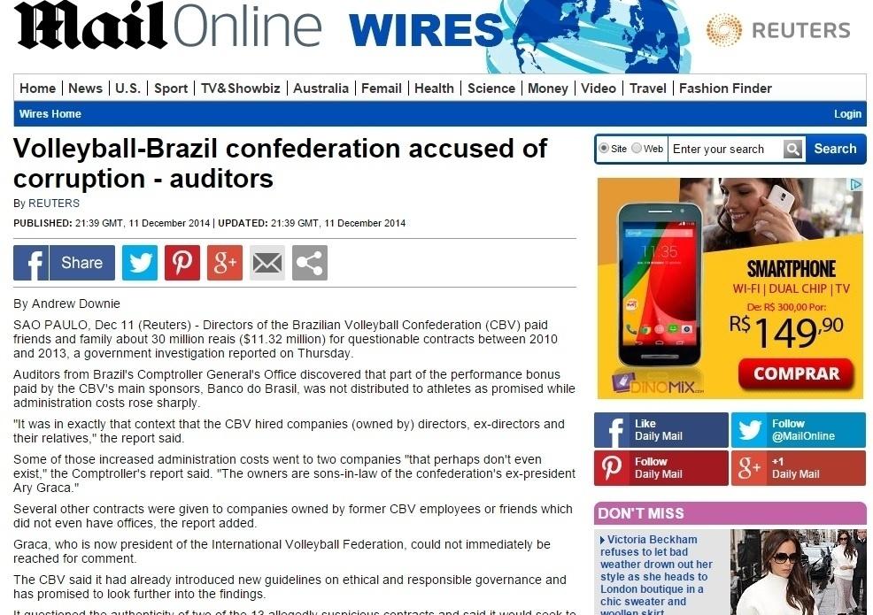 Página do jornal inglês Daily Mail também destaca o termo corrupção em seu título