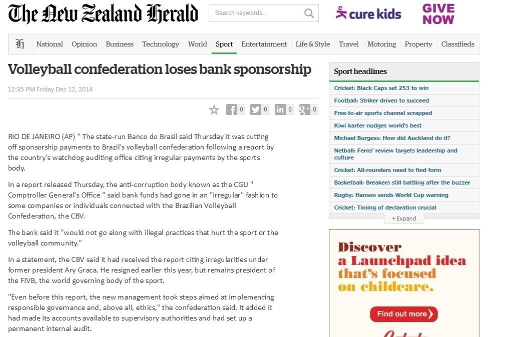 Página do jornal neozelandês New Zeland Herald destaca que CBV perdeu patrocínio do Banco do Brasil