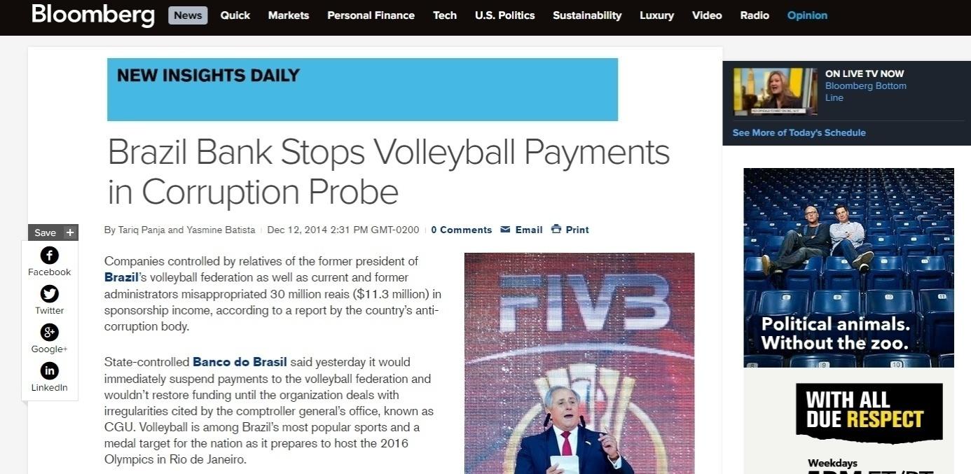 Site da Bloomberg, veículo americano especializado em economia, destaca a corrupção no vôlei brasileiro