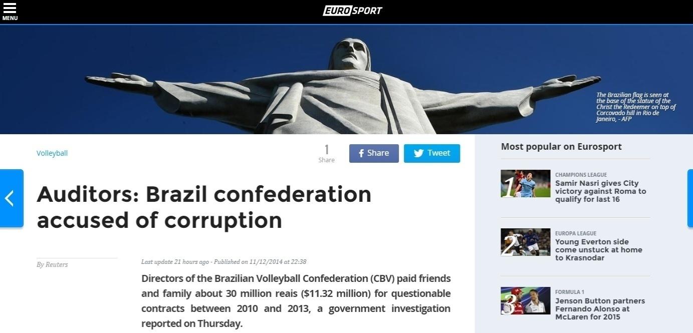 Site do canal esportivo Eurosport também da destaque à corrupção em sua manchete