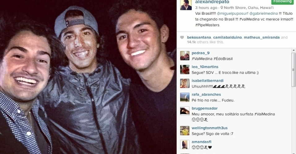 Alexandre Pato foi para o Havaí torcer pelo amigo Gabriel Medina, que disputa título mundial de surfe