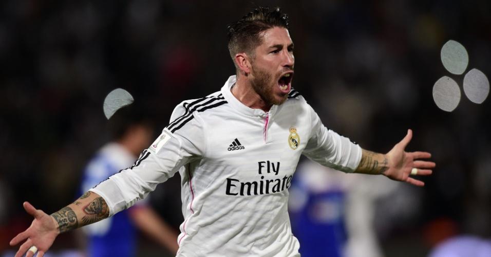 Sergio Ramos comemora seu gol de cabeça contra o Cruz Azul, na semifinal do Mundial de Clubes