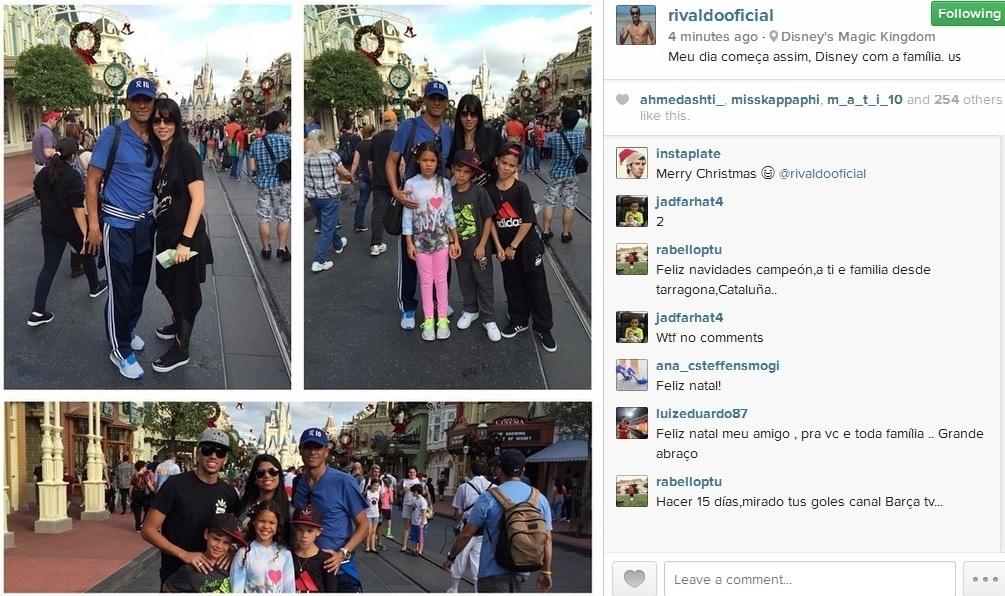 Rivaldo levou a família para passeio em Orlando, nos Estados Unidos