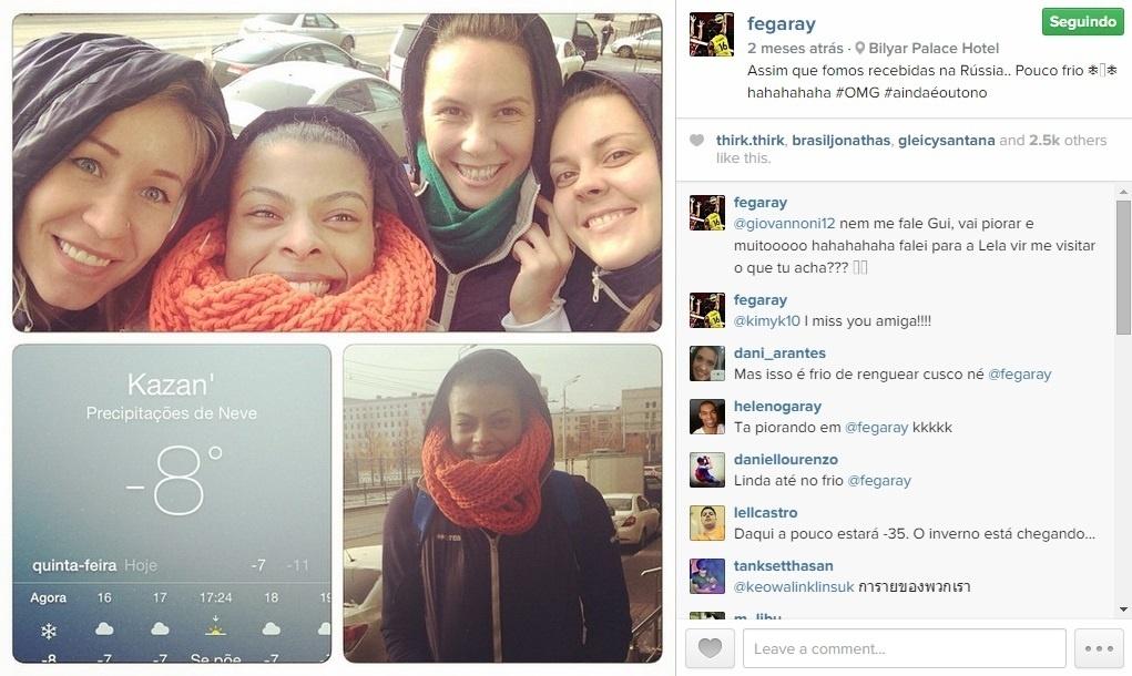 Fernanga Garay encara o frio na Rússia