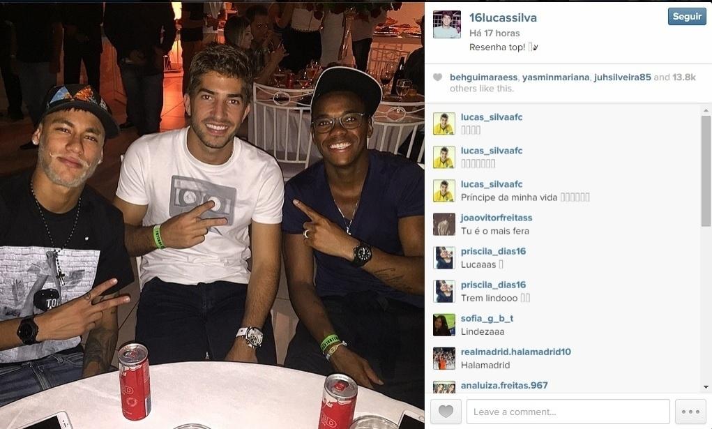Lucas Silva, sonho do Real Madrid para 2015, passa folga de final de ano ao lado de Neymar e Robinho