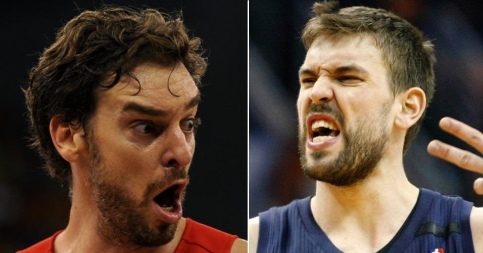 Pau (e) e Marc Gasol são jogadores de basquete nascidos na Espanha que atuam na NBA