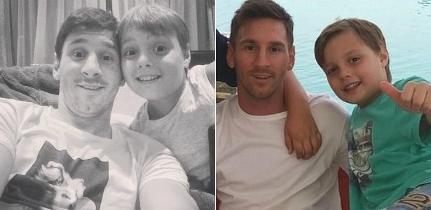 Lionel Messi e o sobrinho Agustín, de seis anos