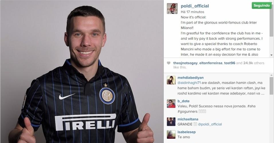 Podolski com a camisa da Inter de Milão