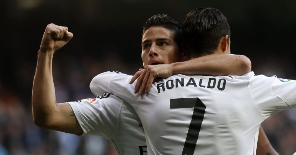 Autor do 1º gol do Real, James comemora com Cristiano Ronaldo