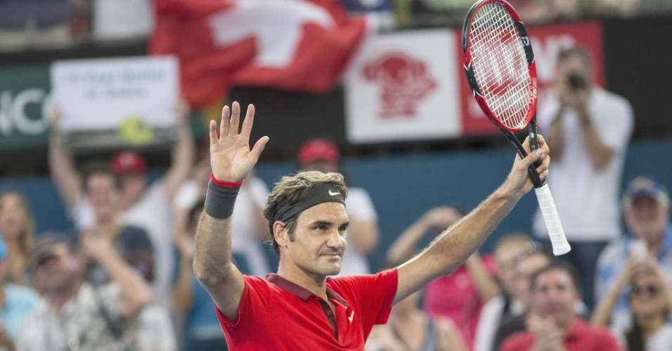 Federer celebra vitória sobre Grigor Dimitrov na semifinal do ATP 250 de Brisbane (AUS)