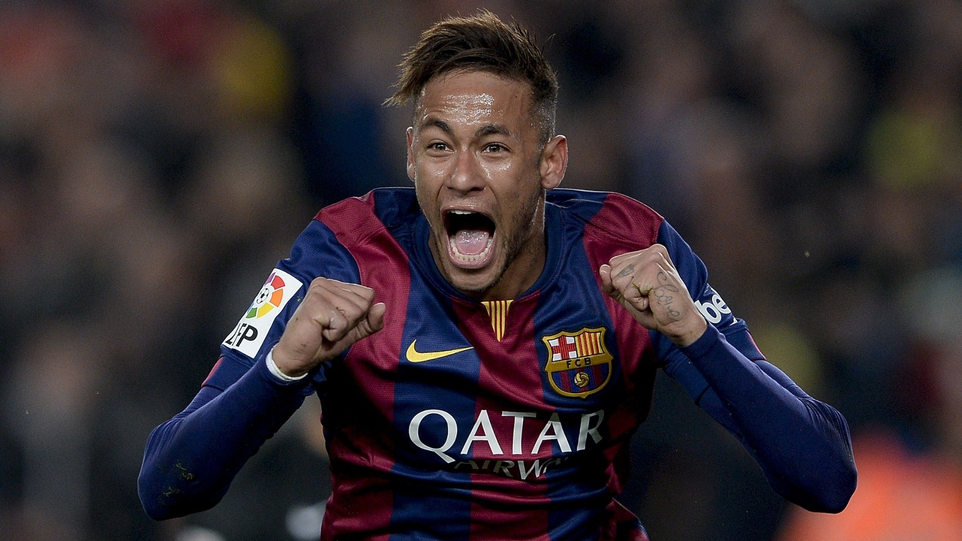 Neymar comemora após abrir o placar para o Barcelona contra o Atlético de Madri
