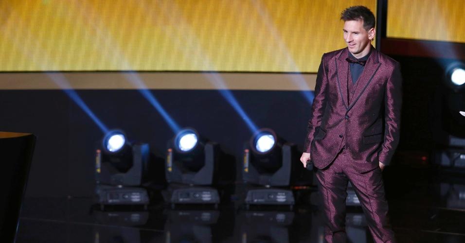 Messi durante prêmio Bola de Ouro da Fifa, em janeiro de 2015