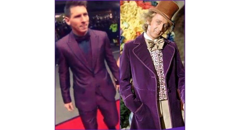 Messi e Willy Wonka, da Fantástica Fábrica de Chocolates