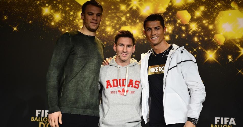 Neuer, Messi e Cristiano Ronaldo em festa de premiação da Fifa