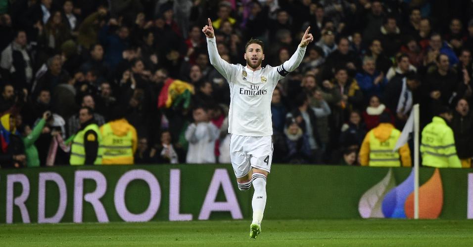 Zagueiro-artilheiro, Sergio Ramos comemora gol de empate do Real Madrid