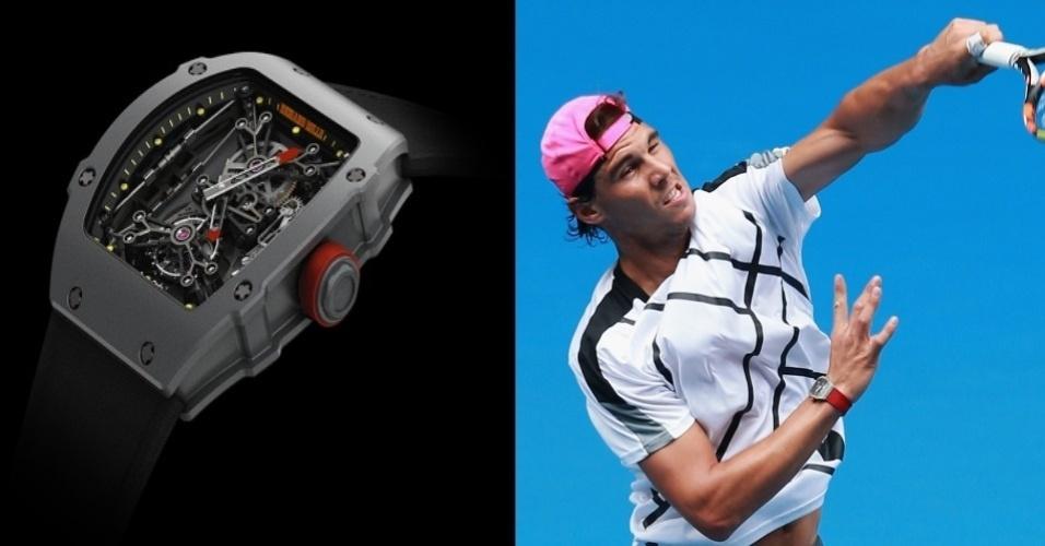 Rafael Nadal mostra o seu Richard Mille Tourbillion RM 27-01 de $690 mil (R$1,8)