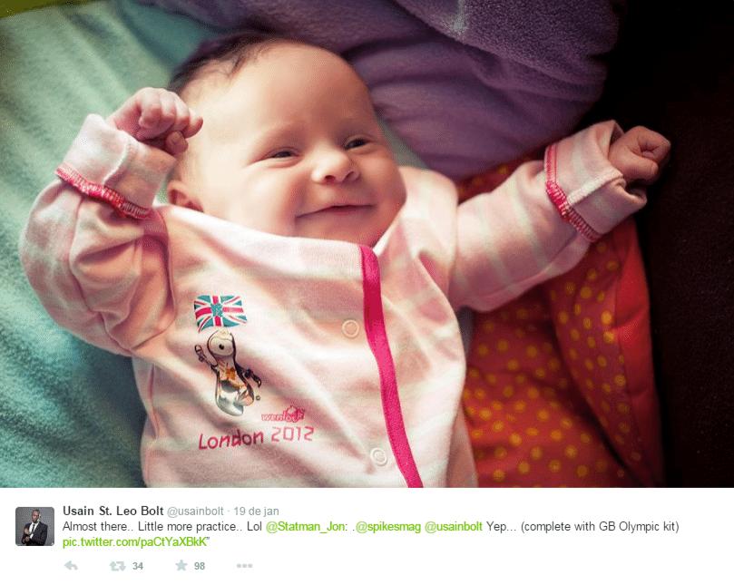E até um macacão lembrando as Olimpíadas de Londres foi usado por essa bebê para imitar o ídolo