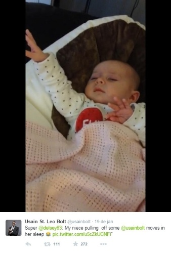 o famoso gesto de Usain Bolt usado muito em suas comemorações nas Olimpíadas de Londres (2012) ganhou versões fofas. Bebês posam para fotos imitando Bolt nas redes sociais