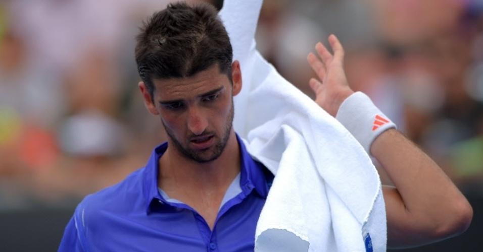 Thomaz Bellucci foi eliminado na primeira rodada ao perder para o espanhol David Ferrer por 3 sets a 1