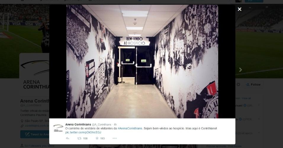 Reprodução da nova decoração do vestiário dos visitantes no Itaquerão, com uma referência ao