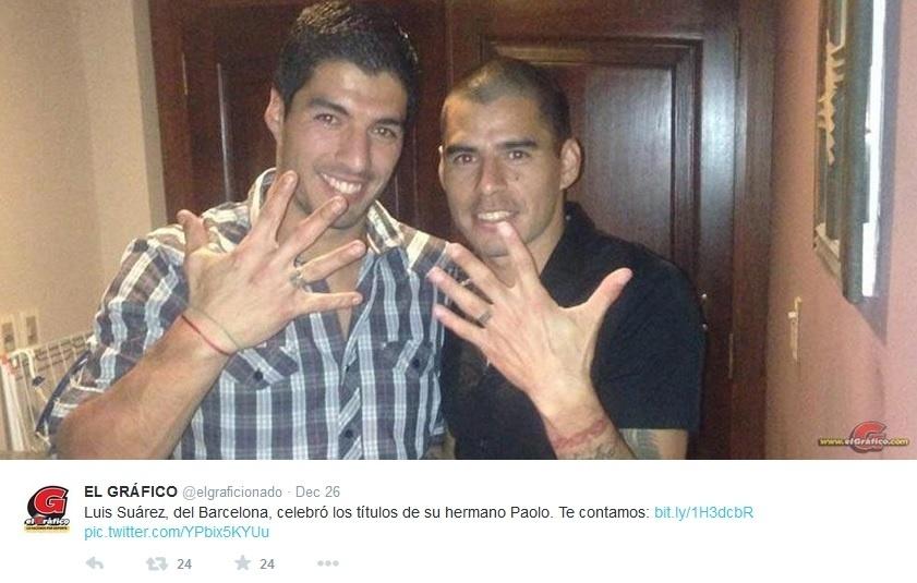Luis Suárez e o irmão mais velho, Paolo Suárez