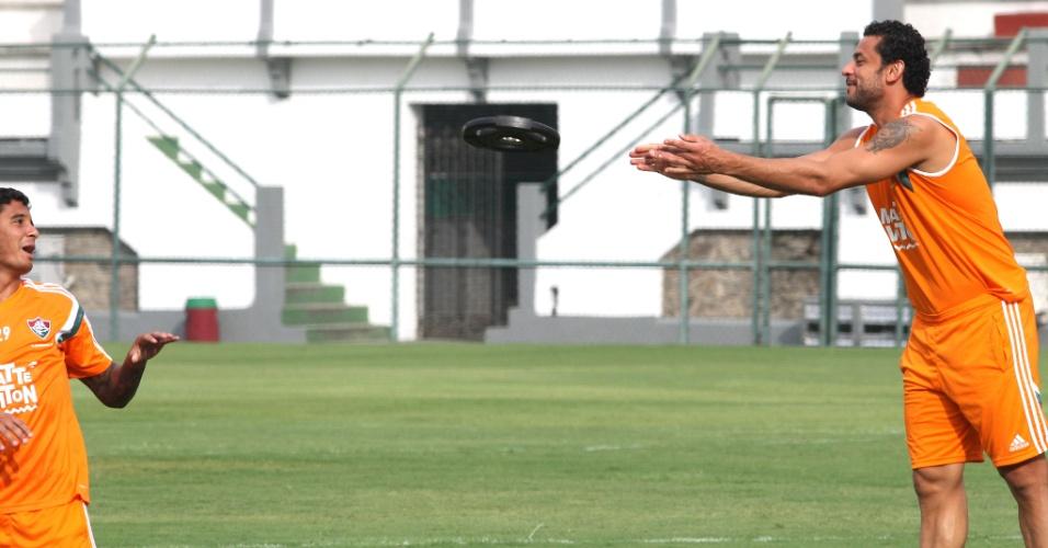 23 jan. 2015 - Fred e Michael participam de treinamento do Fluminense nas Laranjeiras