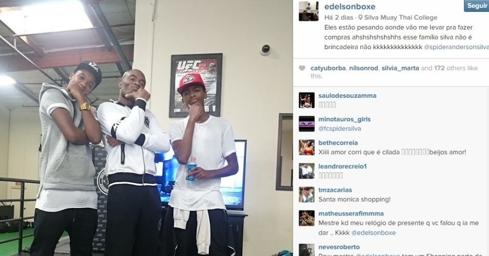 Na sexta-feira (23), Edelson Silva - responsável pelos treinos de Anderson Silva - brincou com a foto do lutador: