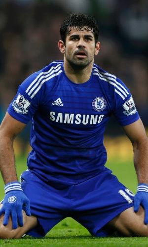 Diego Costa em ação pelo Chelsea na Copa da Liga Inglesa