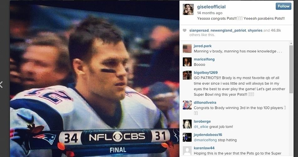 "Gisele comemora vitória do New England Patriots: ""Yeeeah parabéns Pats!!!"""