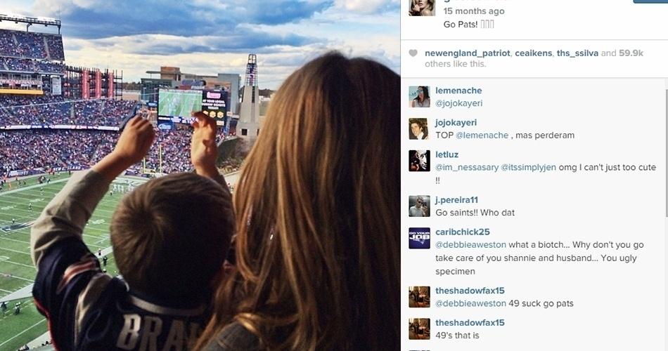 Gisele posta foto de um de seus filhos no estádio acompanhando o pai em ação