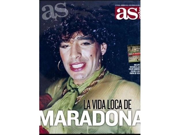Capa de janeiro da revista Color, do jornal As, mostra Maradona vestido de mulher
