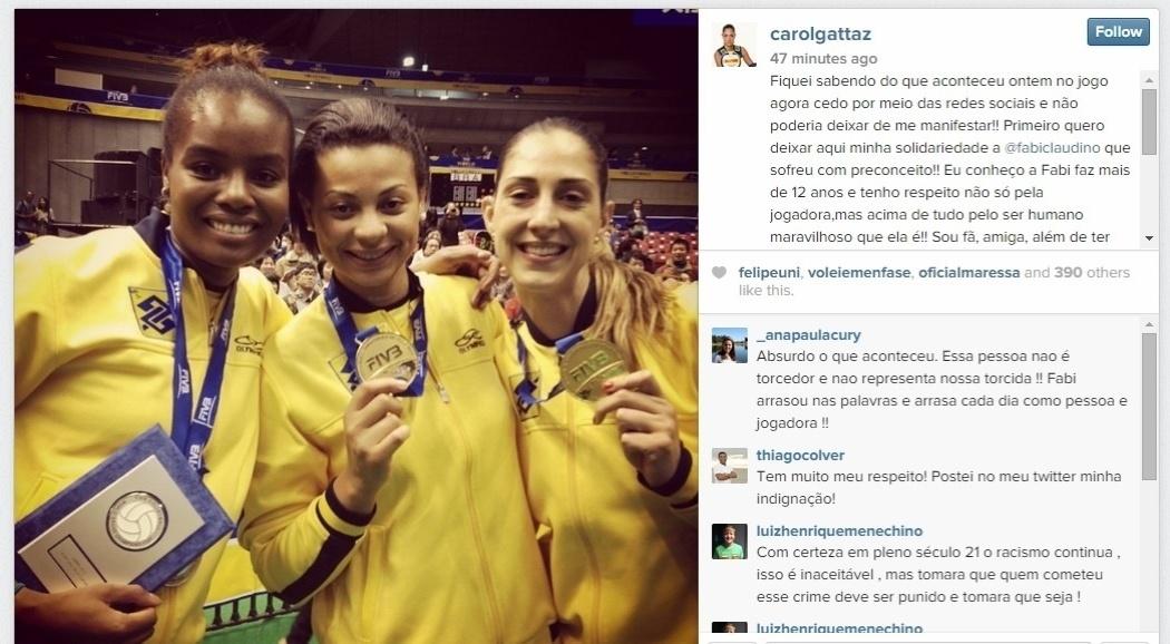 Carol gattaz, que jogou com Fabiana na seleção, também escreveu no Instagram