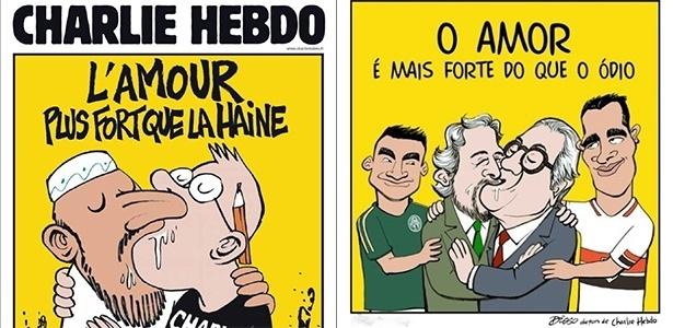 A capa da Charlie Hebdo que inspirou a charge de Diogo Salles no blog ESPN FC: beijo entre Paulo Nobre, do Palmeiras, e Carlos Miguel Aidar, do São Paulo