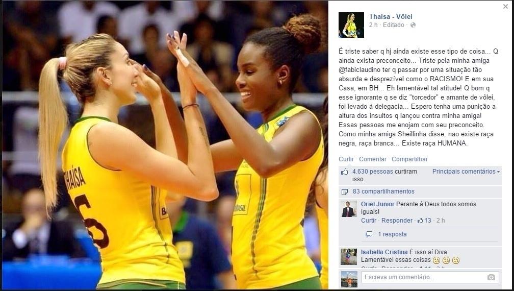 Thaísa, jogadora do Osasco e da seleção, demonstrou repúdio ao racismo