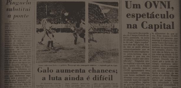 """Reprodução da capa do """"Correio do Estado"""", jornal do MS, com notícia sobre óvni em Campo Grande - Reprodução - Reprodução"""