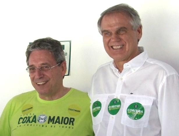 Andrade (D), ao lado de Rogério Bacellar, que o venceu com apoio de Namur em 2014 - Divulgação