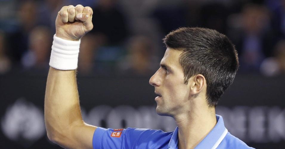 Djokovic vibra com a vitória no primeiro set