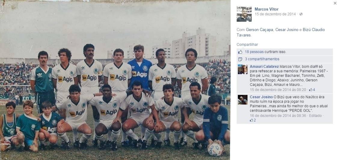Bizu na época de Palmeiras, abaixo de Zetti