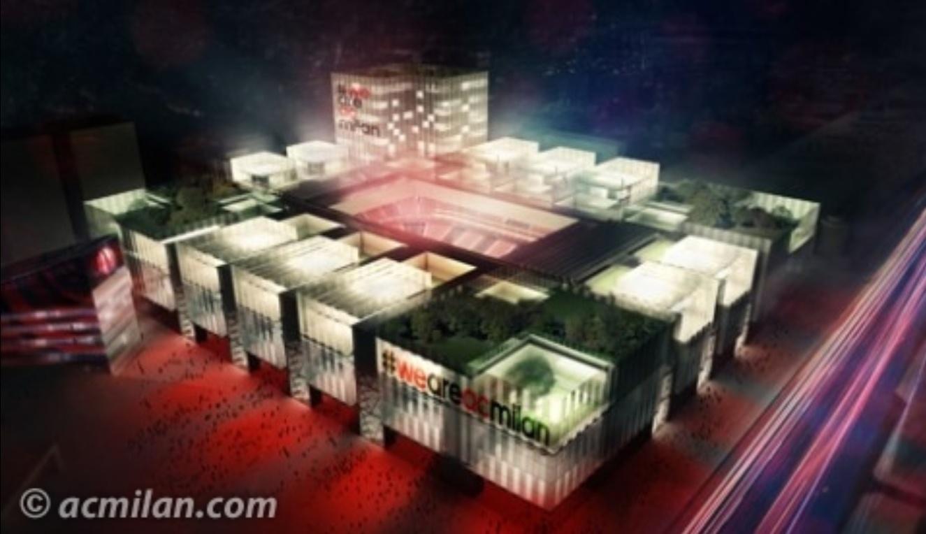 Imagem do projeto do futuro estádio do Milan