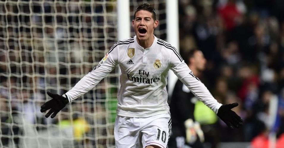 James comemora gol que abriu o placar para o Real Madrid contra o Sevilla pelo Campeonato Espanhol