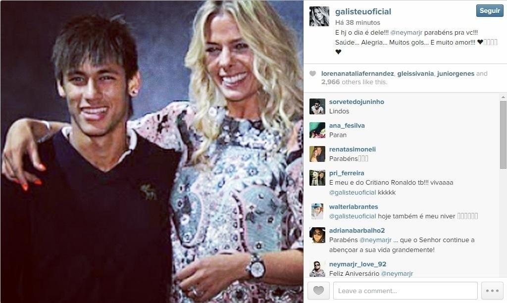 A apresentadora Adriane Galisteu desejou muitos gols a Neymar no dia do aniversário do jogador