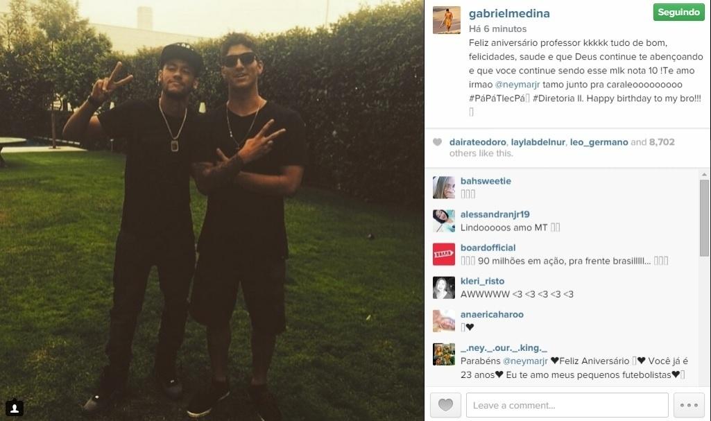 Amigo de Neymar, o surfista Gabriel Medina mandou uma mensagem de feliz aniversário ao jogador do Barcelona