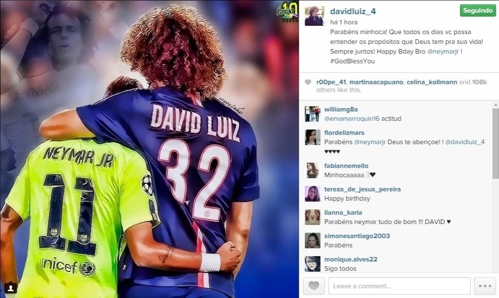 Chamando Neymar de minhoca, David Luiz fez um post para o amigo